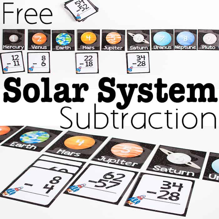 Printable Solar System Subtraction Activity