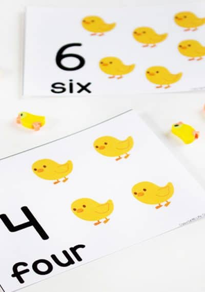 These chick counting cards for numbers 1-10 are perfect for learning in the spring or for Easter! They would even work great with a farm theme! So many uses and the little chick mini-erasers are adorable!