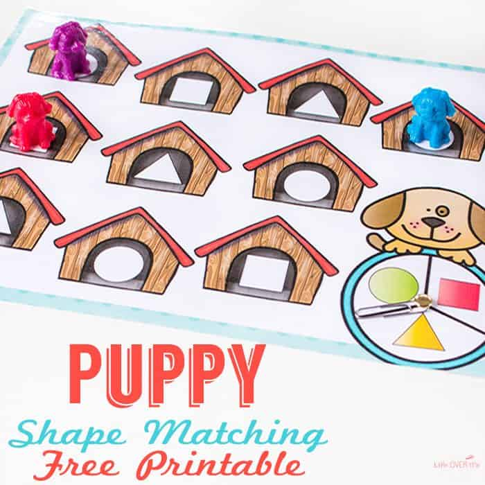 Shape matching free printable puppies