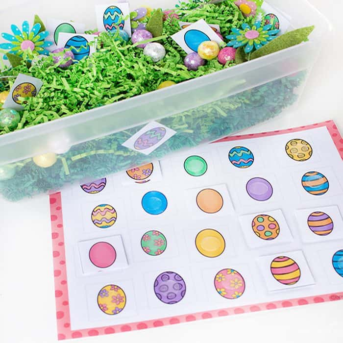 This Easter Egg Hunt Sensory bin is perfect for preschoolers who are learning to match. Work on fine motor skills while using this Matching Easter Eggs Free Printable. I love the bright colors!!
