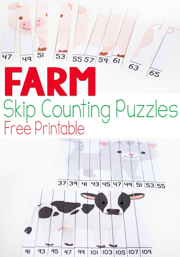 These farm skip counting puzzles for odd numbers are great for kids who are ready for a bit of a challenge! An easy-prep math activity perfect for kids who are learning to skip count.