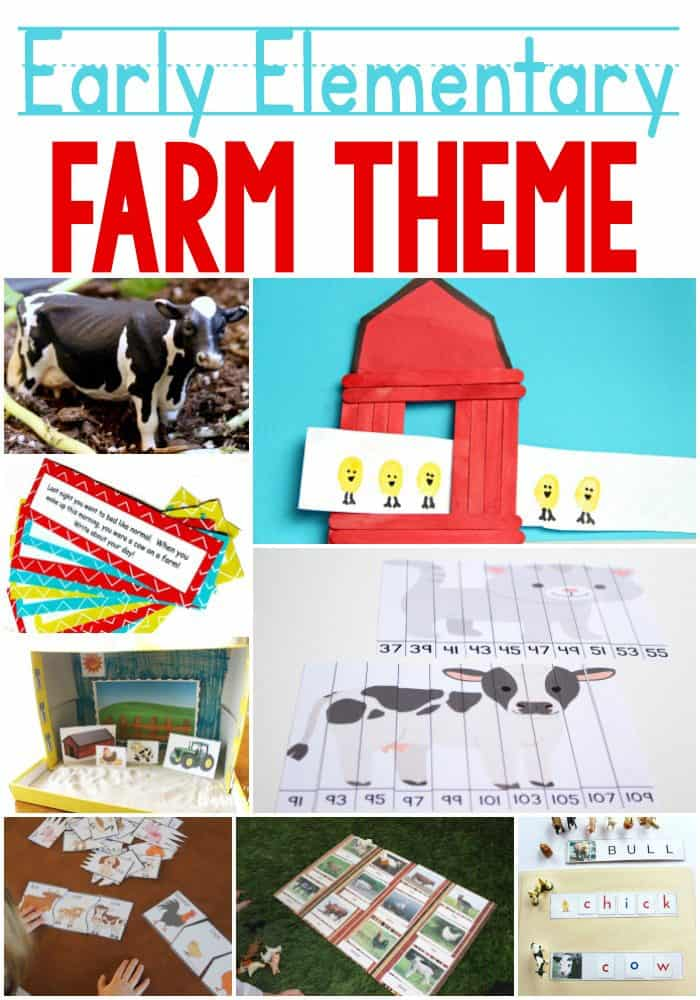 Fun farm theme learning activities for early elementary. Kids in 1st, 2nd and 3rd grades still love themed learning activities!! These farm activities are sure to be a hit!