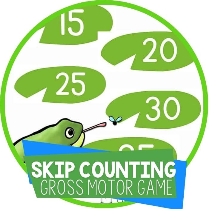 frog theme skip counting by 5's gross motor math game Featured Image