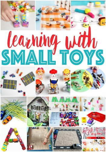 Make learning fun! Using small toys like Shopkins, Paw Patrol, cars, and animals makes learning excited for kids!