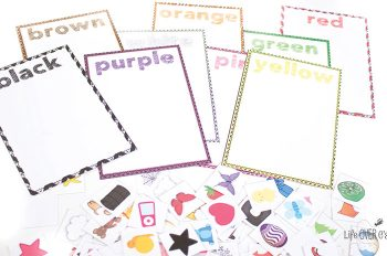 An amazing Colors Math & Literacy Pack for preschool and kindergarten. Learn colors while also practicing math skills like graphing, patterns, measurement and matching. Then practice literacy skills like writing color names, reading color words. Plus, fun play dough mats for color words! Love this entire color pack!