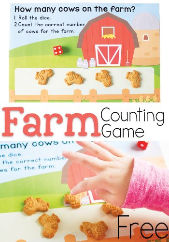 Cows on the Farm Counting game for preschoolers! Kids love it when learning time is also snack time! Kids can count the correct number of cow crackers as the roll the dice.