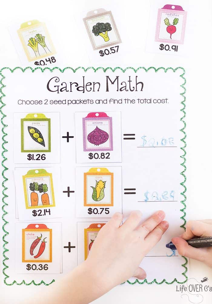 Practice adding money with this free printable garden math activity. Choose two seed packets and add them together. Perfect for a spring math lesson.