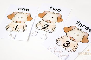 Dog counting cards for numbers 1 to 5. Preschoolers will love practicing their counting skills while helping the dogs find their bones. Perfect for a pet's theme!