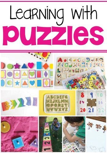 So many fun ways to learn with puzzles! Great ideas for when kids get bored with a puzzle. Use them for math, reading and sensory activities.