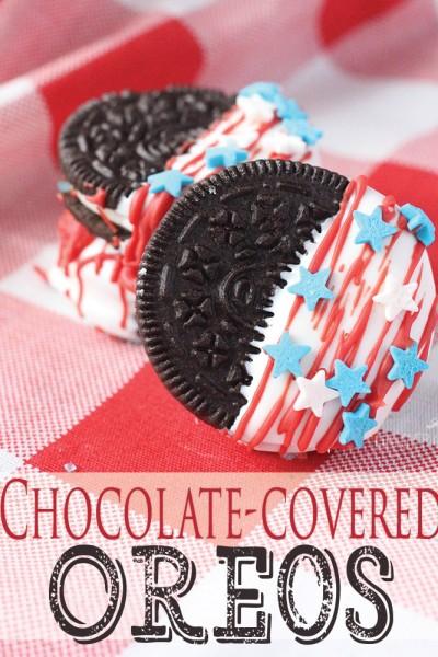 Patriotic Chocolate-Covered Oreos