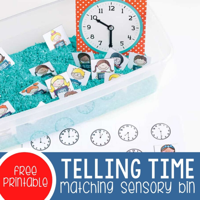 Telling Time Matching Sensory Bin Featured Square Image