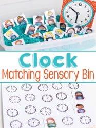 Telling Time Matching Sensory Bin