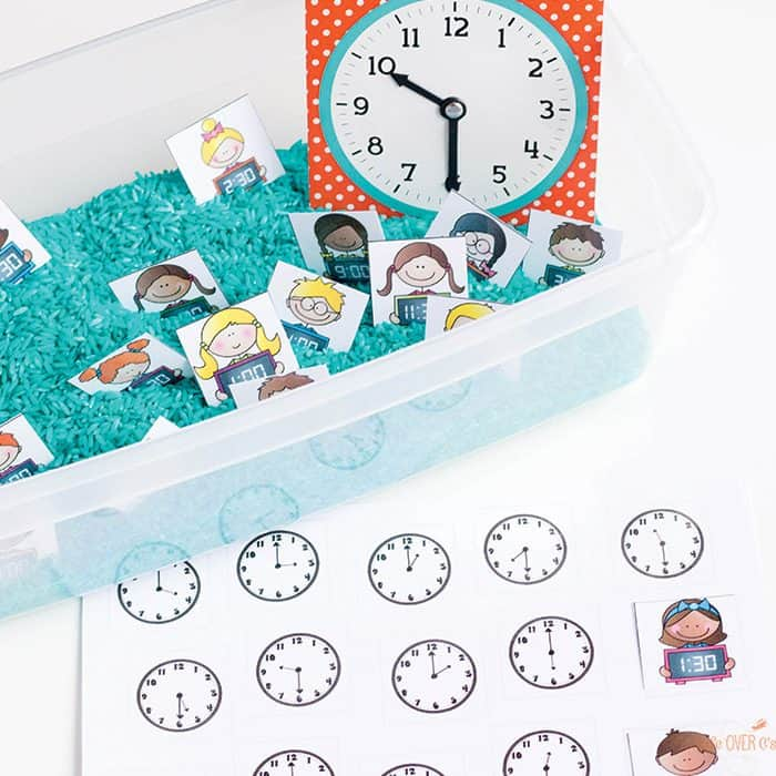 This telling time matching sensory bin is great for learning time to the hour and half hour. Kids match clocks with digital and analog clock options.