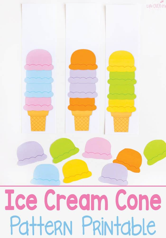 graphic relating to Ice Cream Cone Template Free Printable named Ice Product Cone Behaviors Printable - Lifestyle Earlier mentioned Cs