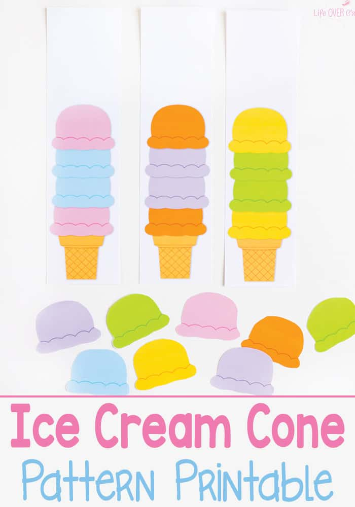 This ice cream cone pattern free printable is a fun way to work on patterns! Kids love learning about patterns with a fun ice cream theme.