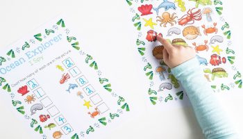 This ocean I Spy printable is a perfect counting activity for preschoolers. With this free printable, kids can practice counting, learn about ocean animals and work on language skills.