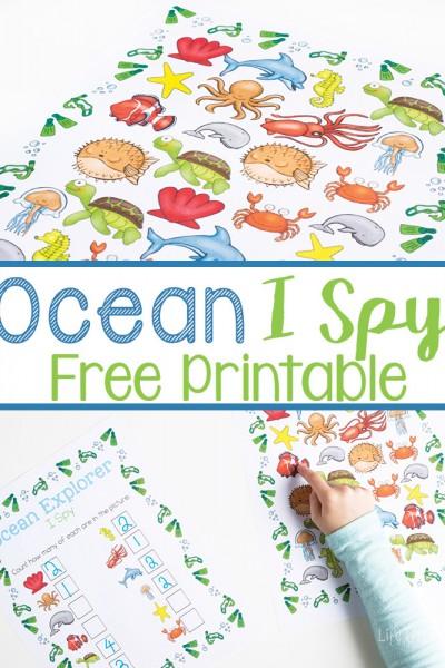 Ocean I Spy Counting Printable for Preschoolers