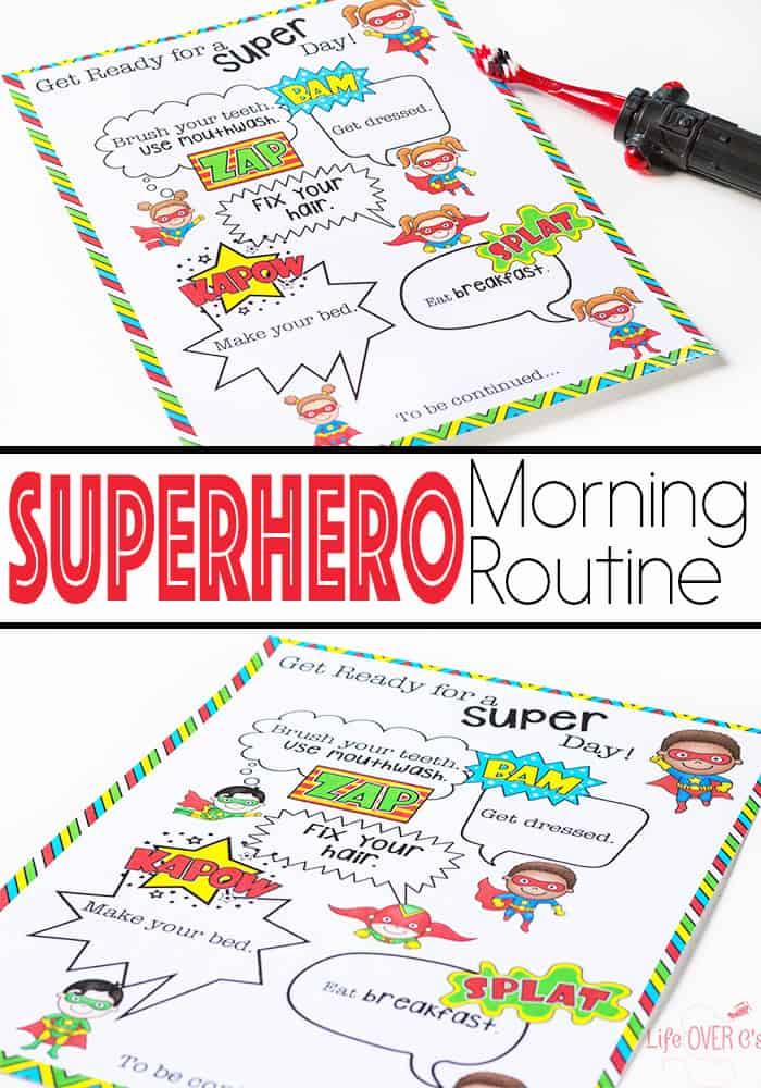 Do you have an aspiring superhero? This superhero morning routine printable is a great way to help with get ready in the morning. A fun, superhero twist on the usual morning checklist.
