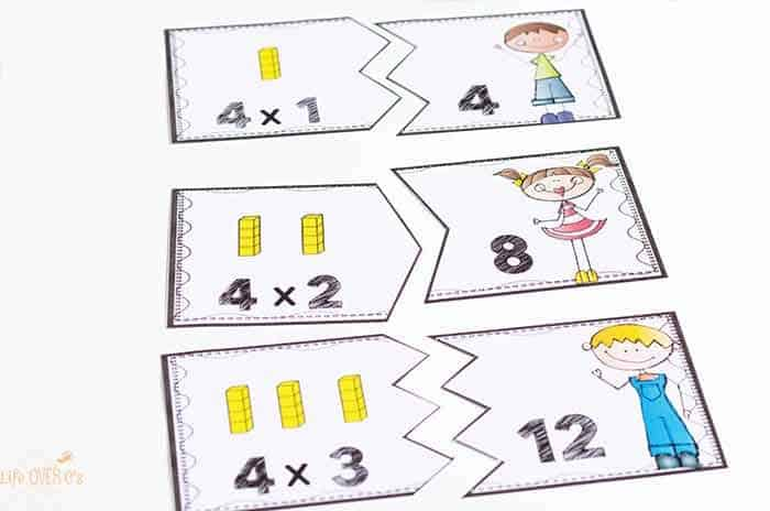 These multiplication puzzles for multiples of 1-10 are great for helping kids visualize their multiplication facts. With arrays of math blocks on the puzzles, the kids can easily see what the problem means which makes these great for introducing multiplication.