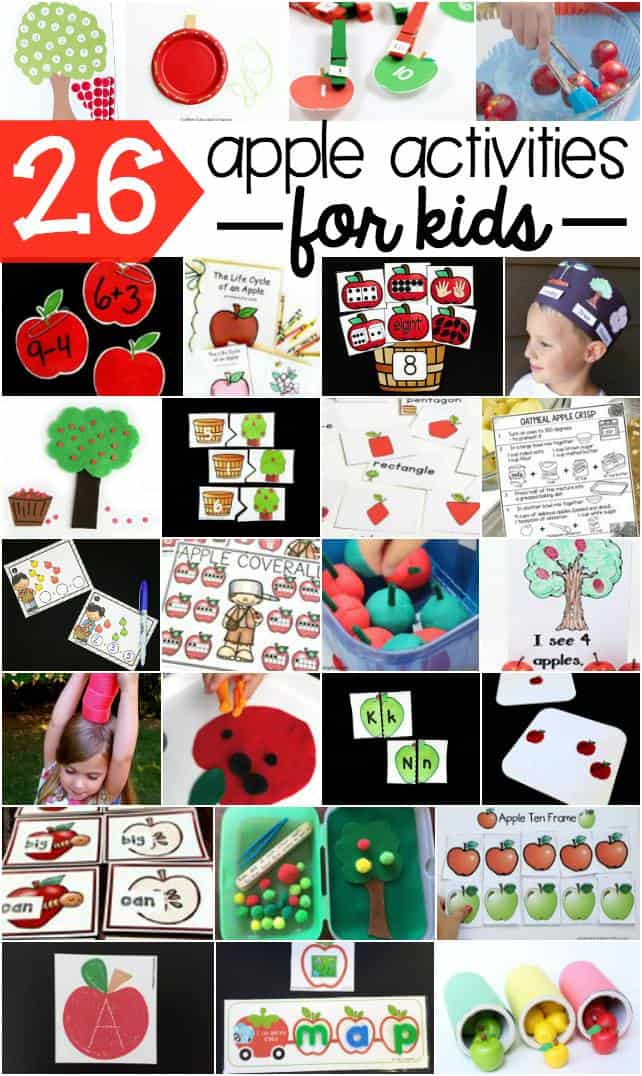 Apple theme learning activities for kids. Perfect for fall!