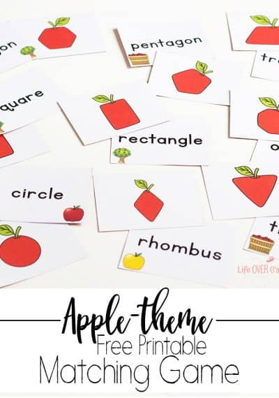Printable Shape Apple Matching Game for Fall