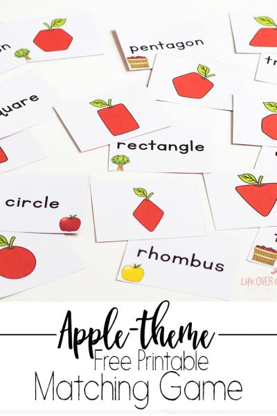 Printable Shape Apple Matching Game for Fall