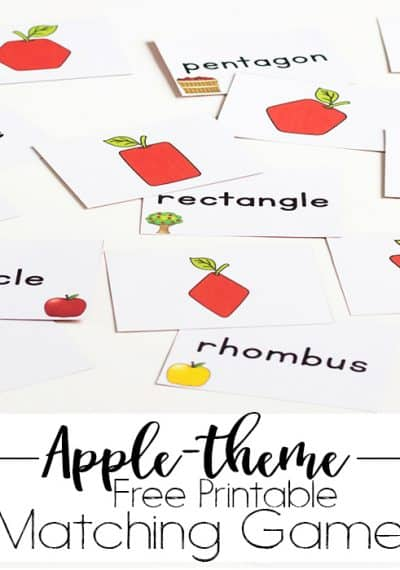 Free printable shape apple matching game. Perfect for learning shapes in the fall or in an apple unit!