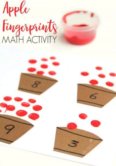 Apple fingerprint math activity that is perfect for building fine motor development and math skills this Fall.
