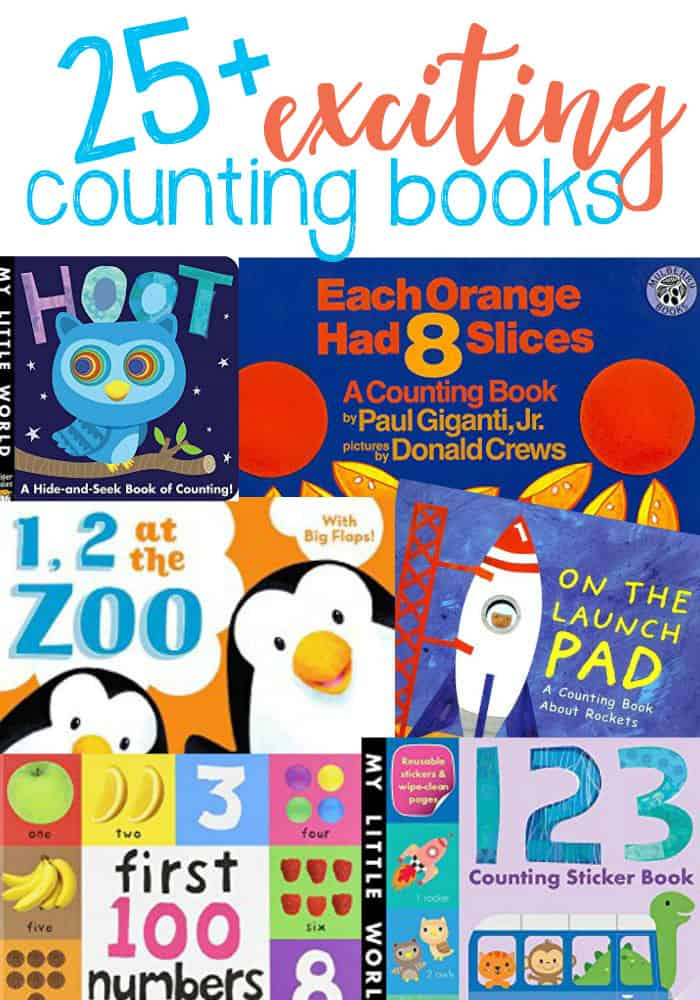 Help teach your little one learn basic number and counting skills with these 25+ fun, bright and colorful counting books.