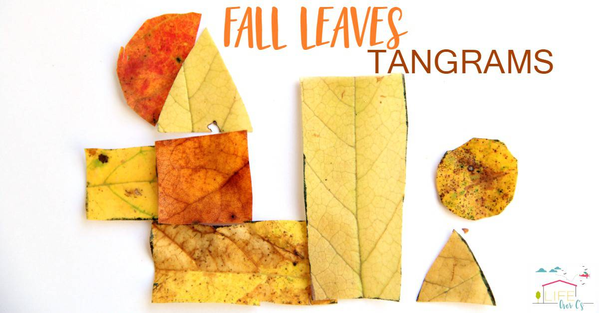 Use fall leaves to make your own fall themed tangrams