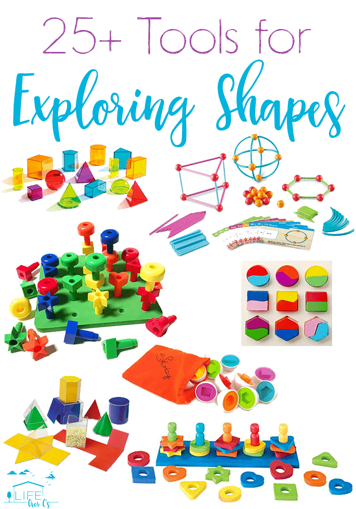 25+ Shape toys and activities! Hands-on learning for 2D and 3D shapes. Matching, sorting, building, designing and more!