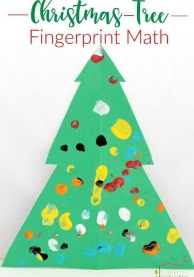 This Christmas tree fingerprint math activity is a great way for preschoolers to work on fine-motor skills, counting and colors.