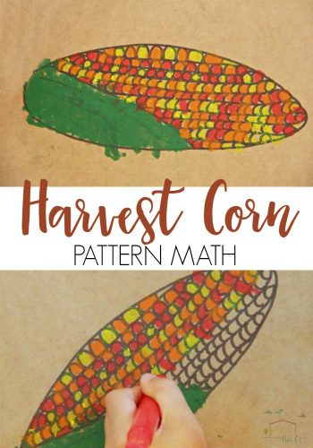 This Harvest Corn Pattern math activity is perfect for building fine-motor skills! Learn about fall and build patterning skills at the same time.