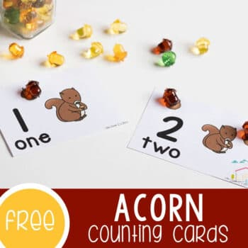 Acorn Counting Cards for Fall Featured Square Image