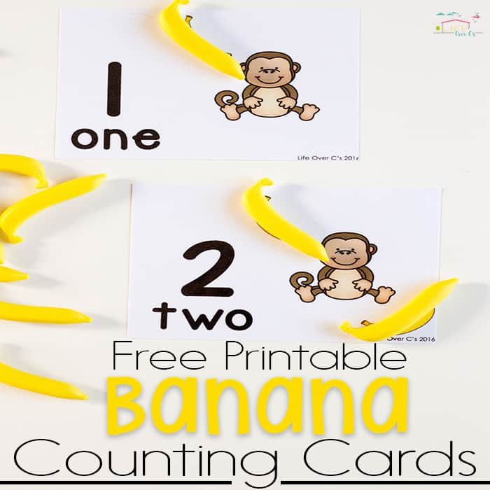 These free printable monkey & banana counting cards for numbers 1-10 are perfect for starting one-on-one correspondence for an animal unit!