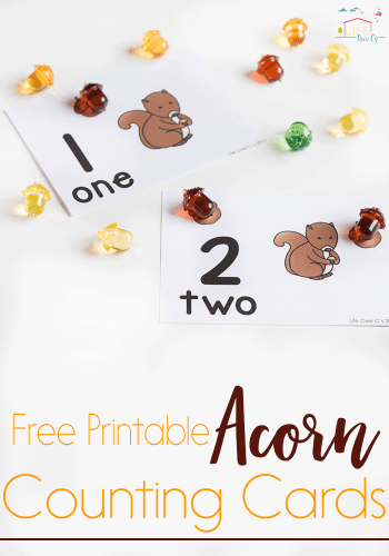 These acorn counting cards are perfect for working on one-to-one correspondence with your kids. A simple, low-prep free printable for numbers 1-10.