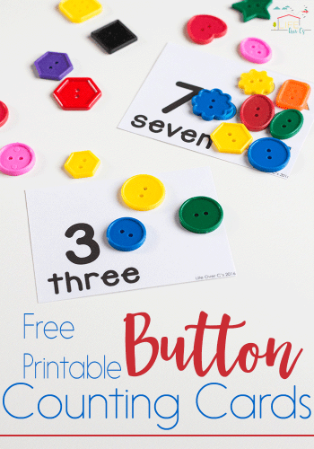 These free printable button counting cards for numbers 1-10 are great for preschoolers who are working on one-to-one correspondence.
