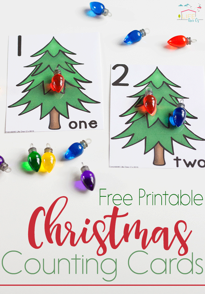 These free printable Christmas lights counting cards for numbers 1-10 are perfect for starting one-on-one correspondence this Christmas!