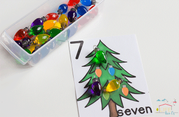 These Christmas lights counting cards for numbers 1-10 are perfect for starting one-on-one correspondence this Christmas!