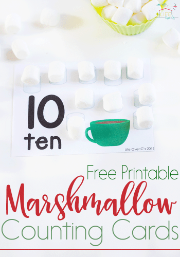 Marshmallow Counting Cards for Numbers 1-10
