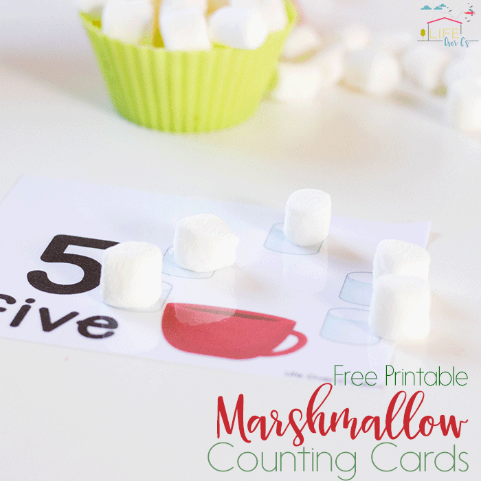 These free printable marshmallow counting cards for numbers 1-10 are perfect for starting one-on-one correspondence this Christmas!
