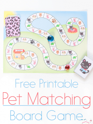 Printable Little Pet Matching Board Game