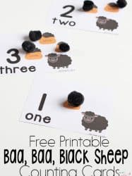 Baa, Baa, Black Sheep Counting Cards for Numbers 1-10