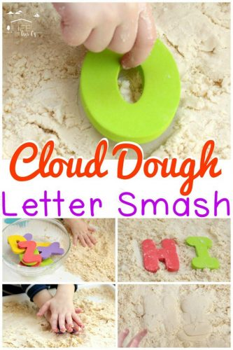 Kids love the texture of cloud dough. Make your playtime educational by mixing cloud dough with foam letters in this exciting letter smash!