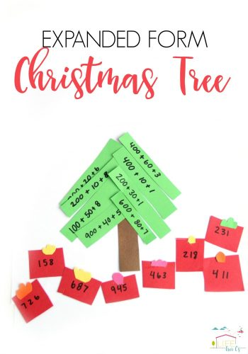 Expanded Form Math Christmas Activity Pinterest image.