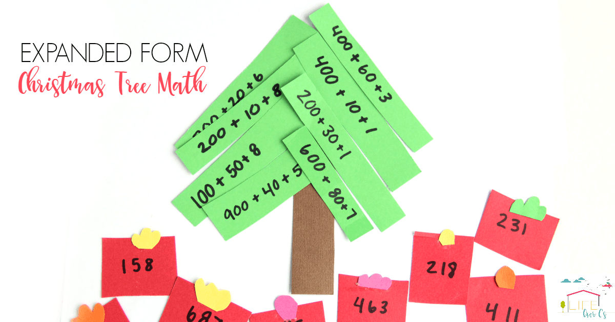 This expanded form math Christmas activity is fun for math concepts this holiday.