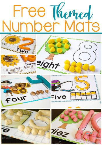 These hands-on number mats are our most loved resource! Use play dough, mini erasers, candy, rocks, snack crackers, buttons and so many more manipulatives!