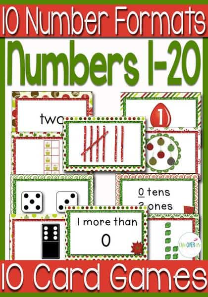 Numbers to 20: 10 Card Games Christmas Theme