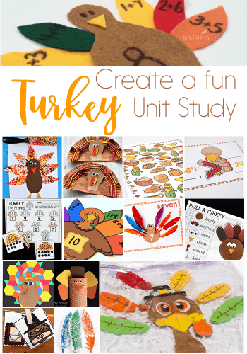 Create a fun Turkey Unit Study with these fun math, literacy, art, sensory and science activities!