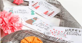 Free printable woodland Christmas tags for Christmas gift wrap.